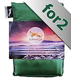 Silkrafox for 2 - ultraleichter Schlafsack für 2 Personen, Hüttenschlafsack, Inlett, Sommerschlafsack, Kunst- Seidenschlafsack, grün