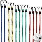 Deuba 12x Spanngummi Set Metallhaken | 4 Größen 30-95 cm | Expander Gepäckspanner Universal Gepäckgummi Spannseil