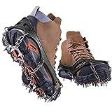 CLEEBOURG Steigeisen Bergschuhe Schuhkrallen mit 19 Zähne Edelstahl Spikes Anti Rutsch Schuhspikes, Eisspikes, Schneekette zum Klettern, Bergsteigen und Wandern, EIS und Schnee Sport