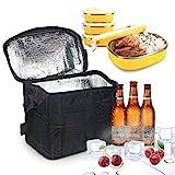 LEBEXY Kühltasche Eistasche Picknicktasche Lunch Tasche faltbar, 10L, Schwarz