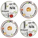 MamboCat 4er Set Pastateller weiß mit Dekor I Geschirrset Rot & Grün I Steingut Geschirr mit bunten Schriftzügen und Motiven I Tiefe Porzellan Teller auch für Suppen und Salate