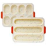 YXIAOO Backform Baguette Backblech Brötchen Brotbackformen Baguetteblech Backen von Baguettebrot Brot Langbrot Hot Dog (Beige, Baguette)