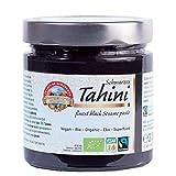 Bio schwarzes Tahini Fairtrade 310g Sesam Creme, 100% reine Vollkorn Sesampaste, Rohkost, vegan, 100% reine Natur, aromatisch nussig, glutenfrei