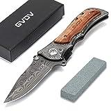GVDV Taschenmesser mit Spitzer - Zweihandklappmesser 7Cr17 Edelstahl, Outdoormesser für Campingjagd, titanbeschichtete Klinge, Sicherheitsschloss, Holzgriff