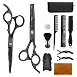 Wrei Haarschere Set,11 pack Scharfe Friseurscheren friseur schere ausdünnen Haarschnitt Modellierschere mit friseurumhang, Kämme Clips, schwarzer case, verbessertes Haarschnitt-Set
