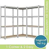 Juskys 3er Metall Regalsystem Easy | 1 Eckregal & 2 Lagerregale | 12 Böden aus MDF Holz | 960 kg | Schwerlastregal Steckregal