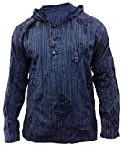 SHOPOHOLIC FASHION Herren Stonewashed Gestreift Mit kapuze Hippy Großvater Shirt - Blau, Medium