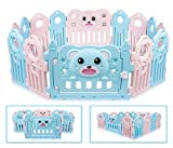Spielhaus Baby Laufgitter Laufstall Baby Absperrgitter Krabbelgitter Besrey Schutzgitter für Kinder mit Tür und Spielzeug