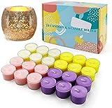 YUE GANG 24 Stücktee Lichter groß Duft-Teelicht Teelichter Kerzenhalter, im Acrylcup, Kunststoffbecher, 8 Stunden Brenndauer, Lavendel, Zitrone, mediterrane Feige, frischer Frühling Duftkerzen Set