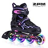 2PM SPORTS Vinal Verstellbar Inliner für Kinder, Leucht Inline Roller Skates Rollschuhe für Damen/Herren (Violet, Large(37-40EU))