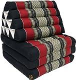 Guru-Shop Thaikissen, Dreieckskissen, Kapok, Tagesbett mit 3 Auflagen - Schwarz/rot, 30x50x160 cm, Asiatisches Sitzkissen, Liegematte, Thaimatte