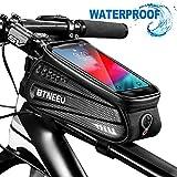 BTNEEU Fahrrad Rahmentasche Wasserdicht mit TPU-Touchscreen, Fahrrad Handytasche Fahrrad Oberrohrtasche Fahrradtasche Handy mit Kopfhörerloch, MTB Rahmentasche für Smartphone unter 6.5zoll (schwarz)