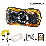 Ricoh WG-50 orange, wasserdicht, Kit mit Schwimmgurt, Silikonschutzhülle, 32 GB SD, zweitem Akku