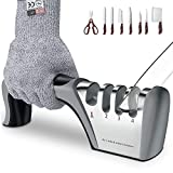 BMK Messerschärfer Profi Messerschleifer + Anti-Schneidhandschuhe, 4 Stufen 2021 Design Grobschärfen und Scheren Schleifen, Feinschärfen und Spezialkeramik für Präzisionsschärfen