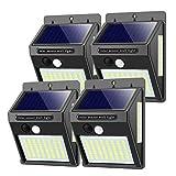 Solarlampen für Außen mit Bewegungsmelder,【Hohe Qualität 100LED-1000Lumen】 Solarleuchte Aussen 2200mAh Solar Wasserdichte Wandleuchte Led Solar Bewegungsmelder Aussen Solarlicht für Garten-4 Stück