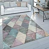 Paco Home Teppich Wohnzimmer Bunt Pastellfarben Rauten Muster 3-D Design Kurzflor Robust, Grösse:160x230 cm