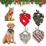 KATELUO Haustier Bandanas,4 Stück Weihnachten Hund Bandanas,Bandana für Hund,Haustier Dreieck Lätzchen,Mit Weihnachtsmann Elchmustern, geeignet für Katzen und Hunde Haustiere (M)