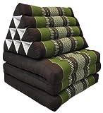 Wilai Kapok Thaikissen, Dreieck mit DREI Auflagen (82003 - braun/grün)