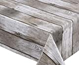 BEAUTEX Holz beige Wachstuch Tischdecke glatt abwischbar Garten Tischdecke RUND OVAL ECKIG, Größe wählbar (Eckig 140x220 cm)