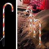 LED Zuckerstangen 4 er XXL Set Zucker Stangen Rot weiss Außenbeleuchtung Weihnachten Weihnachtsbeleuchtung Lichterkette 32 LED s Gartenstecker IP 44 Adapter NEUHEIT