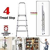 GWFVA Faltbare 4-Stufen-Leiter Aluminium Leichte Trittleitern Sicherheit Home Küche Büro Gartenleiter rutschfest EN131 Standard