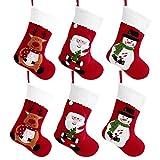 Toyvian Weihnachtsstrumpf Weihnachtsdeko Weihnachten Geschenktasche Zucker Beutel Weihnachtsbaum Deko 6PCS Stickerei Socken Dekoration Nikolausstrumpf - EIN Echter Klassiker