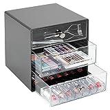 mDesign Schubladenbox aus robustem Kunststoff – praktischer Kosmetik Organizer mit drei Schubladen – stilvolles Schubladensystem mit Chromgriffen – schiefergrau/durchsichtig