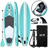 Aufblasbares SUP Board für Stand Up Paddle Board (15cm Dick)   Surfbrett Sets mit Hochdruck-Pumpe + Verstellbare Paddel + Kajak Sitz + 3 Finnen + Füße TPU Paddle Leash + Rucksack & Reparaturset (Grün)