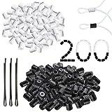 Elastische Kordelstopper – verstellbare Schnalle, 200 Stück elastische Maskenverschlüsse für Maskenversteller, Kordelstopper für Kordelzug, weiß + schwarz