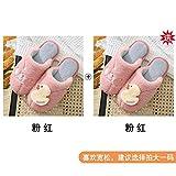 NIKAI Hausschuhe Damen Feste Sohle,Haushaltshefterzufuhren des weiblichen Haupthauptherbstes und des netten Innenpaares des unteren Plüschs der starken-2 Doppel 36-37_Pink + Pink