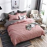 Boqingzhu Bettwäsche 155 x 220cm Rosa Altrosa Grau Anthrazit Microfaser Wendebettwäsche Set Uni Einzelbett Bettbezug mit Reißverschluss und 1 Kissenbezug 80 x 80 cm