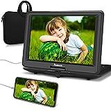 NAVISKAUTO 16' Tragbarer DVD Player HD 1080P HDMI IN 1366 * 768 6 Stdn. Akku 270°Drehbarer Portable DVD Player Memory TF USB AV IN/Out mit Handtasche