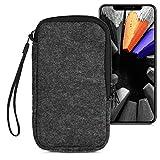 kwmobile Handytasche für Smartphones L - 6,5' - Filz Handy Tasche Hülle Cover Case Schutzhülle Dunkelgrau - 16,2 x 8,3 cm Innenmaße