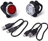 Aujelly LED Fahrradbeleuchtung Fahrradlicht Set,LED Silikon Fahrradleuchte USB Wiederaufladbare Lamp Set,Fahrrad Vorne Rücklicht Set Push Cycle Clip Licht, Wasserdicht Sicherheitslicht (Black)