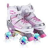Kuxuan Saya Rollschuhe Verstellbar für Kinder, mit Leuchtenden Allrädern, Spaß für Mädchen und Damen - Klein (28-31 EU)