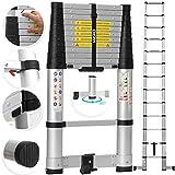 MASKO Teleskopleiter 3,80m Soft Close | Klemmschutz | ALU Leiter | 360° ausklappbare sicherheitsbügel | 13 Sprossen | Aluleiter Stehleiter Anlegeleiter | Mehrzweckleiter | belastbar bis 150 kg