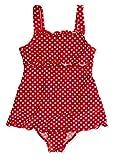 Playshoes Mädchen Einteiler Badeanzug mit Rock in rot mit weißen Punkten. UV-Schutz nach Standard 801 und Oeko-Tex Standard 100, Gr. 86 (Herstellergröße: 86/92), Rot
