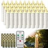 HENGMEI 30 Stück LED Kerzen Weihnachtskerzen Kabellos Warmweiß mit Fernbedienung Timer Christbaumkerzen Weihnachtsbaum Kerzen Kerzenlichter Weihnachts