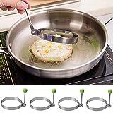 4 STK Spiegeleiform Edelstahl Bratring Eier Form Antihaft Küche Werkzeug pfannkuchen Braten Fried (Rund)