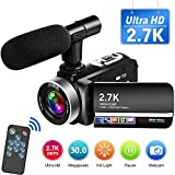 Videokamera 2.7K Camcorder Full HD 30MP Videokamera mit Mikrofon Fernbedienung Camcorder HD Drehbarer Touchscreen und Webcam Funktion