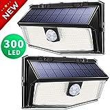 300 LED Solarlampen für außen【2020 Neues Design 】, LITOM solarleuchten für außen, solarlampen für außen mit bewegungsmelder, 270°Beleuchtungswinkel, 3 Modi,IP67 Wasserdicht,einfache Motage (2 Stück)