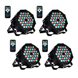 UKing LED Bühnenlicht Par Scheinwerfer DMX512 RGBW Bühnenbeleuchtung mit Drahtlose Fernbedienung (36 LED), 4er Pack