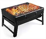 UTTORA Grill, tragbarer Grill, Holzkohlegrill, Edelstahl, faltbar, für Picknick, Garten, Terrasse, Camping, Reisen