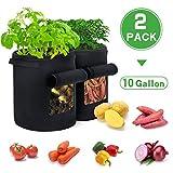 Ledeak Kartoffel Pflanzsack, 2 Pack 10 Gallone Wachsen Tasche, Dauerhaft AtmungsaktivBeutel Grow Bag mit Tragegriffen, Belüftung Stoff Töpfe Pflanzentaschen für Tomaten, Pflanzen und Gemüse(Schwarz)