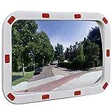 vidaXL Verkehrsspiegel Überwachungsspiegel Sicherheitsspiegel Panoramaspiegel Konvex Viereckig 40×60 cm mit Reflektoren