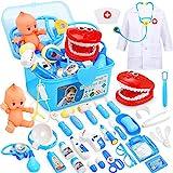 Fivejoy 43 Teile Arztkoffer Kinder Spielzeug, Doktorkoffer Kinder Rollenspiel Spielzeug Mit Simulation Arztkittel Und Puppe, Doktor Spielzeug Set Für Mädchengeschenke Im Alter Von 3 Jahren Junge