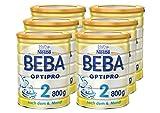 Nestlé BEBA OPTIPRO 2, Folgemilch ab dem 6. Monat, Baby-Nahrung als Pulver, im Anschluss an das Stillen, bei angemessener Beikost, 6er Pack (6 x 800 g)