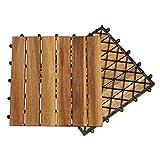 Hengda Terrassenfliese Holzfliesen Akazie 5m², 30x30cm, Bodenbelag, Drainage, Garten Klick-Fliese