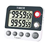 AIMILAR Digitaler Küchen-Timer, magnetisch, großer Bildschirm, Countdown-Timer, Uhr, 2 Kanalgruppen, 99 Stunden, Labor
