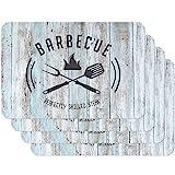 Venilia Tischset Platzset für Esszimmer BBQ Californian Surfer Sytle 'Perfectly Grilled Steak', 4er Set abwischbar Polypropylen, lebensmittelecht 45 x 30 cm, 4 Stück, 59092
